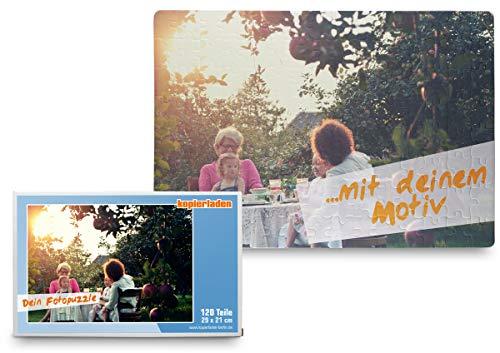Kopieerladen puzzel met eigen foto, 120 delen (29 x 20 cm), incl. geschenkdoos - individueel fotogeschenk - fotopuzzel met eigen afbeeldingen en teksten