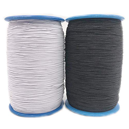 2 Roll 547 Yards 0.5mm Thickness Round Sewing Elastic Thread (Black & White)