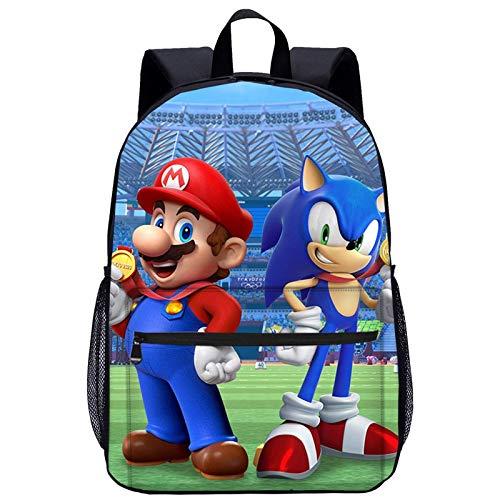 Mario VS Sonic Mochila infantil, Mario VS Sonic, mochila escolar, para hombres y mujeres, para estudiantes de primaria y secundaria (q01,27 x 14 x 35 cm)