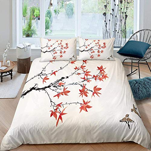 Rmooaceo Bedding Set For Girls Bedroom Decor Twin Quilt Duvet Cover Set Single Bed Sheet Baby Kids Home Children Linens 3D - Modern Maple Leaf Bird Pattern Hand Painted Red Leaves - (Single: 135 X 2