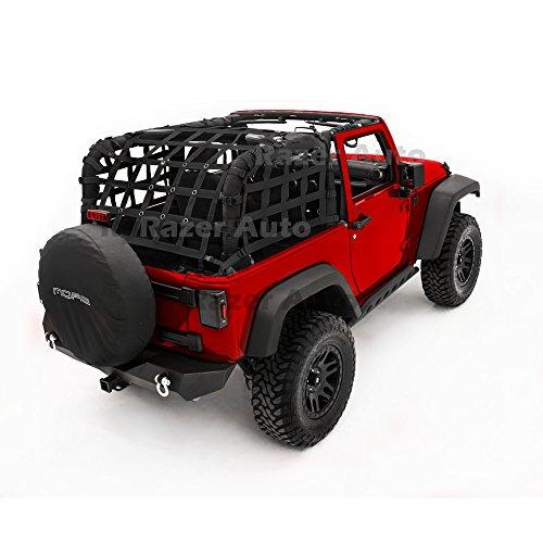 Razer Auto 2 Door Model Only Black Cargo Restraint Net System Trail Cargo Net (Black) for 07-18 Jeep Wrangler JK