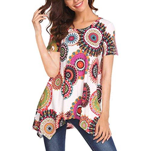 TUDUZ Sommer Damen Eegant Tops Kurzarm Swing Boho Retro Tunika Blumen Flare Tee Bluse Shirt(XL,Weiß-A)