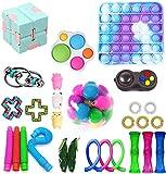 XULIANSEN 28 Pcs Sensory Toys Pack, Fidget Toys Set, Cheap for Kids Adults, Simple Dimple Figetget Toys, Push Pop Bubble Toy Kill Time (Fidget Sensory Toy)
