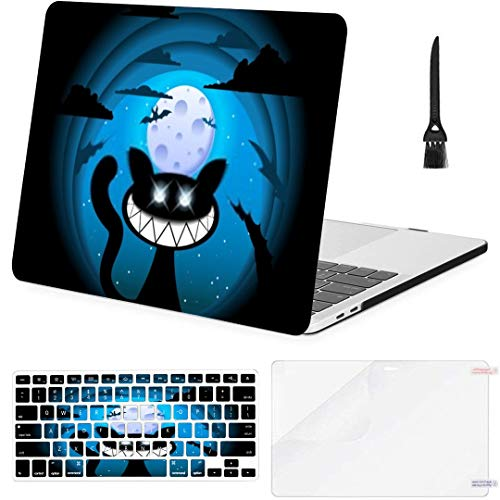 MacBook Air 13 Inch Case Dark Blue Background Cat Smile Vector MacBook Air11 Case MacBook Pro13 Pro15 Plastic Case Keyboard Cover; Screen Protector; Keyboard Cleaning Brushush