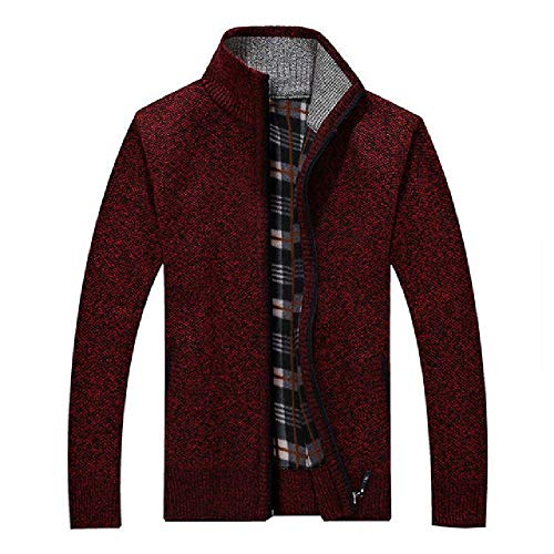 Men's Sweaters Warm Thick Velvet Sweater Jackets Cardigan Coats Male Clothing Casual Knitwear Dark Red
