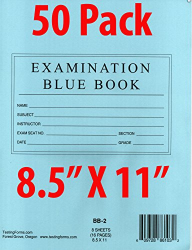"TestingForms.com 8.5"" x 11"" Examination Blue Book 8 Sheets 16 Pages 50 Booklets"