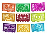 Altar de Ofrendas Dia de los Muertos Mexican Papel Picado Tissue Paper Banner. Colorful Day of the Dead Decorations Medium Size Panels