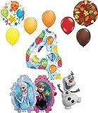 Frozen 2 Suministros de fiesta Elsa, Anna y Olaf 4º cumpleaños Globo Ramo Decoraciones