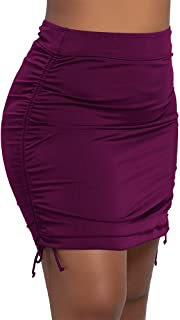 Septangle Womens Swim Skirt Swimwear Cover Up Swimdress with Pocket