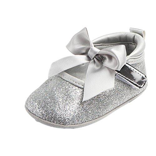 UOMOGO Scarpine neonato Scarpe Primi Passi Bambini Scarpe Battesimo del Bambino Bianco Scarpe morbide Sole Bambino Scarpe Stringate 0-18 Mesi (età: 6~12 Mesi, Argento)