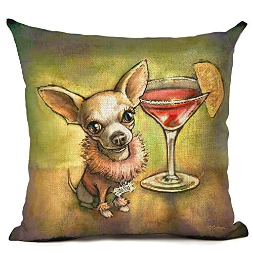 MMHJS Funda De Almohada Decorativa De La Serie De Bebidas para Perros, Lino De Algodón con Cremallera, Material Lavable, Funda De Cojín De Oficina Y Hogar