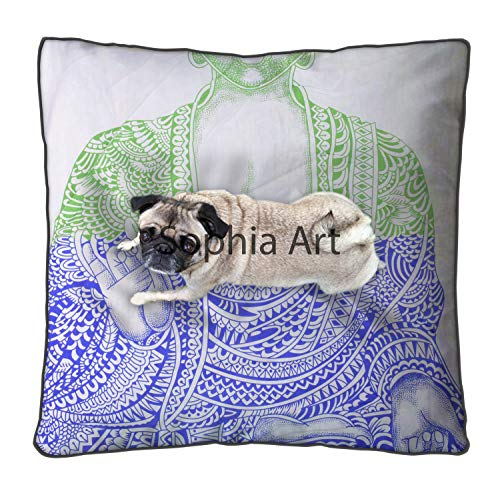Sophia Art Indian Meditation Yoga Hippie Mandala Floor Pillow Cover Square Ottoman Pouf Cover Daybed Oversized Cotton Cushion Cover Heavy Duty Zipper Seating Ottoman Poufs Dog-Pets Bed 35' (Multi)