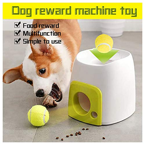 fine_fine Automatic Dog Tennis Ball Thrower and Food Feeder Reward Machine in One - Toy Ball Launcherfor Small Large Medium Dogs - Pet Companion Tennis Ball Throwing Machine Indoor & Outdoor (A)