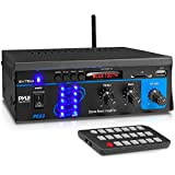 Home Audio Power Amplifier System - 2X75W Mini Dual Channel Sound Stereo Receiver Box w/ LED - For Amplified Speakers, CD Player, Theater via 3.5mm RCA - For Studio, Home Use - Pyle PCA3