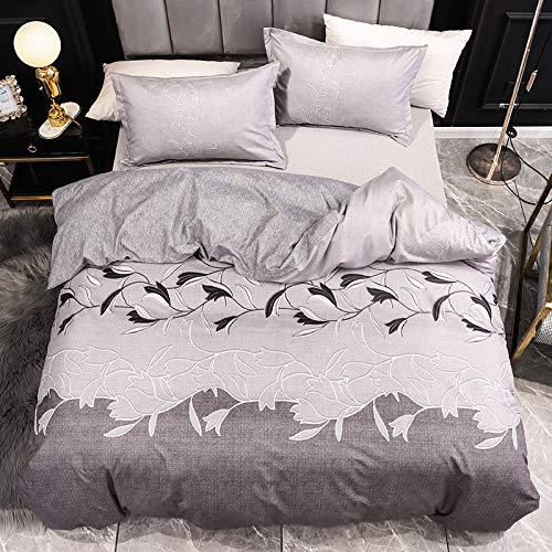 BIANXU Juego de ropa de cama nórdico con estampado de hojas y funda de edredón para cama individual, doble, queen, King, 220 x 240 cm y 2 fundas de almohada de 50 x 70 cm