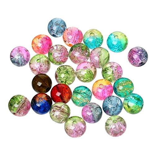 SiAura Material ® - 500x 𝐆𝐥𝐚𝐬𝐩𝐞𝐫𝐥𝐞𝐧 𝟖 𝐦𝐦 Bunt Gemischt Crackle I Zum Basteln und Fädeln