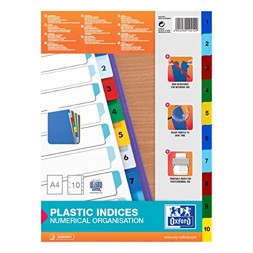Oxford 400013907 Kunststoff-Register Strong-Line Zahlen 1-10 10-teilig für DIN A4 Plastikregister mit beschriftbarem Deckblatt blau rot grün gelb Ringbuch Ordner Ring-Mappe