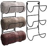 Sorbus Towel Rack Holder Set - Wall Mounted Storage Organizer for Towels, Washcloths, Hand Towels, Linens, Ideal for Bathroom, Spa, Salon, Modern Design, Set of 2 (Black)