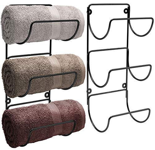 Sorbus Towel Rack Holder Set - Wall Mounted Storage Organizer for Towels
