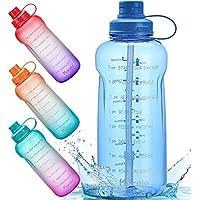 64oz Motivational Water Bottle with Time Marker Reminder & Straw