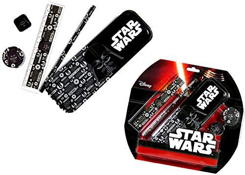 Star Wars - Juego de escritura de Darth Vader de 5 piezas - Regla, lápiz, sacapuntas, goma de borrar y estuche de metal.