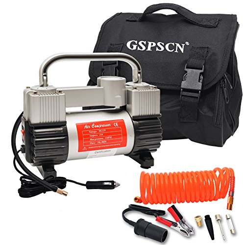 GSPSCN Silver Inflator Heavy Duty Double Cylinders with Portable Bag 12V Metal Compressor Pump 150PSI with Adapter to 150 PSI for Car, Truck, SUV Tires, Dinghy, Air Bed etc