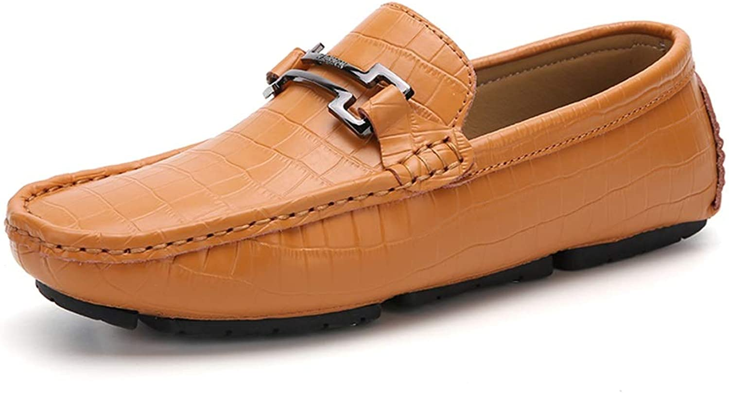 Ino Durable and Fashion Driving Loafer for Men Boat Moccasins Slip On Style OX Leather Metaldecor Simple Solid color Comfortable