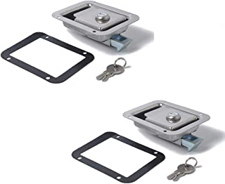 Elenxs 2 Piezas de Acero Inoxidable Paddle Cerradura de Puerta Tirador del pestillo con Llave para Remolque Caravana de Camiones