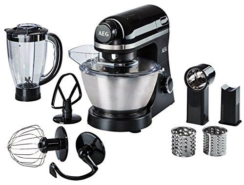 AEG KM 3300 Küchenmaschine / 1 PS / 6 Geschwindigkeitsstufen / Pulse-Funktion / inkl. umfangreiches Zubehör & aufsetzbarer Standmixer / 4 l Edelstahl-Rührschüssel mit Spritzschutz / Saugfüße / schwarz