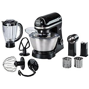 AEG KM3300 Robot Cocina, 800 W, 6 velocidades, Aluminio, Negro