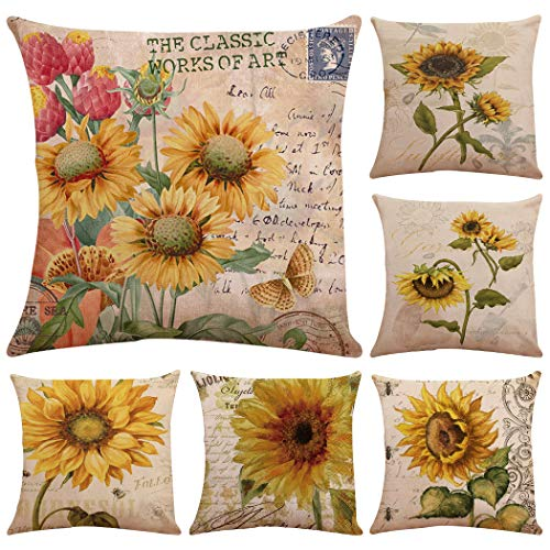 Faylapa 6 Pack Oil Painting Sunflower Throw Pillow Cases,Vintage Floral Design Decorative Cushion Cover Pillowcase Home Decoration Sofa 18×18 Inches (45×45cm)(Case ONLY)