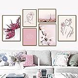 HUANGXLL Sakura Cherry Tree Paris Tower Arte de la Pared Pintura en Lienzo Carteles nórdicos e Impresiones Imágenes de Pared para la decoración de la Sala de estar-40x60cm-30x42cmx3-Sin Marco