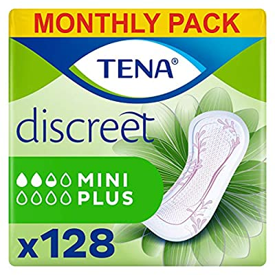 TENA Lady Discreet Mini Plus Towels, for Light Bladder Weakness, Monthly Pack of 128 Incontinence Pads for Women