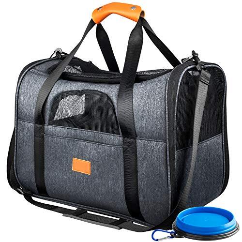ZODAE Faltbare Haustiertragetasche, Hundetragetasche Katzentragetasche, Transporttasche Transportbox Oxford Gewebe, mit Schultergurt und Faltbare Hundenapf für Hunden oder Katzen