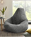 Jumbo Cord <span class='highlight'>Bean</span>bag Chair, Extra Large <span class='highlight'>Bean</span> <span class='highlight'>Bags</span> in Plush Jumbo Cord High back <span class='highlight'>Bean</span><span class='highlight'>bags</span>, Lounger, Jumbo Cord <span class='highlight'>Bean</span><span class='highlight'>bags</span>, Recliner Highback (Grey)