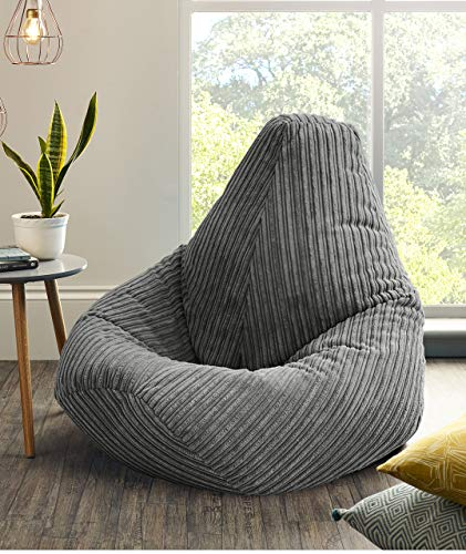 Jumbo Cord Beanbag Chair, Extra Large Bean Bags in Plush Jumbo Cord High back Beanbags, Lounger, Jumbo Cord Beanbags, Recliner Highback (Grey)