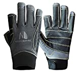 Navis Marine Sailing Gloves for Men Women Rowing Boating Fishing Kayaking All Water Sports Perfect UV Protection Short Finger (G05 Carbon, Small)