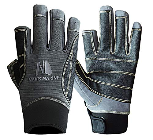 Navis Marine Sailing Gloves for Men Women Rowing Boating Fishing Kayaking All Water Sports Perfect UV Protection Short Finger(2 Cut Black/Carbon,Medium)