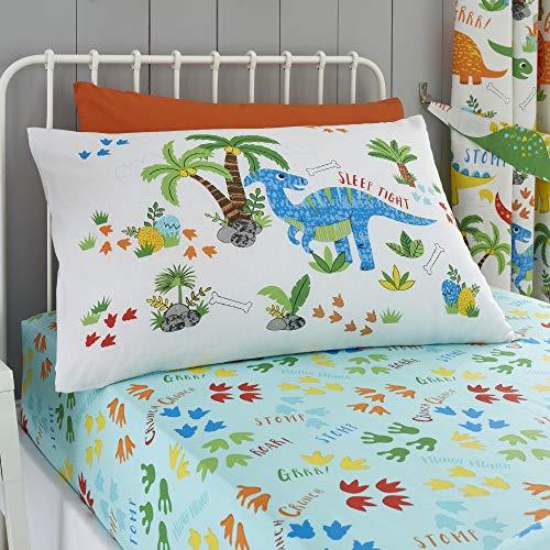 Happy Linen Company Mädchen/Jungen Einzelbett-Spannbettlaken - mit niedlichen Dinosauriern