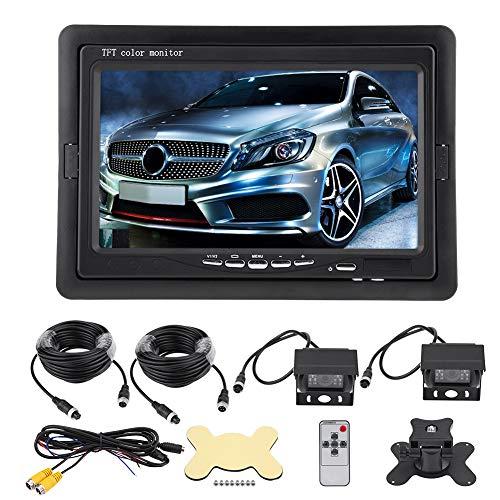 Kit de cámara de visión trasera para coche, pantalla TFT LCD de 7 pulgadas, cámara de marcha atrás, visión nocturna, entradas de vídeo de 2 canales para caravana, autobús, camión