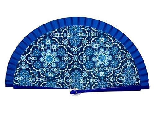 Abanico Gaudí Mosaic. Algodón sobre Madera. Colorido diseño