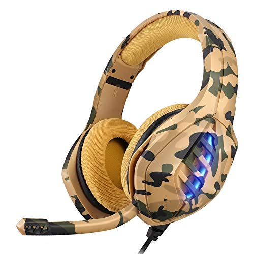 Gaming Headset, Moimhear PS4 PS5 Headset RGB LED Licht Crystal Clarity mit Mic PC Headset Gaming Kopfhörer für PC Xbox One Headset (Gelb)