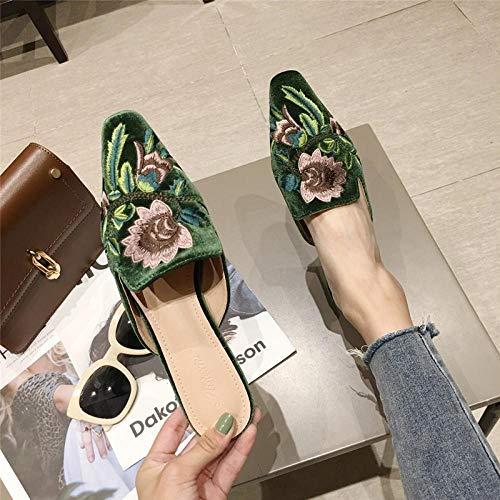 COQUI Zapatillas de Verano Case,El Gato Cuadrado pequeño con Las Zapatillas Finas. Bolsa de Desgaste Femenina de la Caldera y Zapatillas.-Verde_39