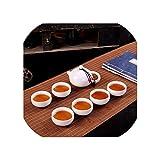 Juego de té de lujo, Kung Fu chino, juego de té de 7 piezas para mujeres y hombres, juego de tetera de cerámica blanca para el hogar familiar de porcelana, 12 estilos, Ermine