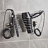 Direct Online Houseware Support pour sèche-cheveux et fer à lisser avec range-câbles Chromé/Noir/Blanc, Fil en acier., chrome, 26cm (W) x 17cm (H) x 13.5cm (D)