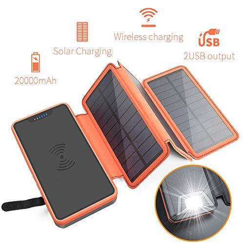 UBMSA 2019 Wireless Solar Charger 20000mAh powerbank met 3 zonnepanelen & sterke LED-zaklamp draagbare externe accu voor smartphones/mobiele telefoons