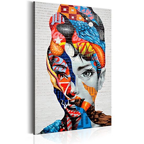 murando Quadro 60x90 cm 1 pezzo Stampa su tela in TNT XXL Immagini moderni Murale Fotografia Grafica Decorazione da parete Poster donna faccia Graffiti Mural mattone h-B-0027-b-a