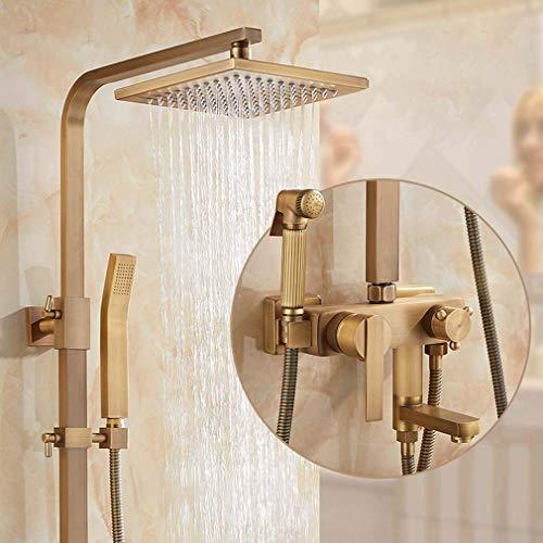 DFJU Sistema de chuveiro termostato, Conjunto de misturador de chuveiro quadrado de latão inclui chuveiro, chuveiro de mão e Bocal de reforço, para Barra de banho ajustável chuveiro, D
