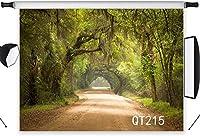写真撮影のための の風景の背景オークの木と7x5フィートのポリエステル生地道路の森結婚披露宴の肖像画のための写真の背景写真ブースの背景シームレスな洗える