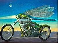 大人のための数字で描く子供オートバイ初心者キャンバスに簡単なアクリル絵の具とブラシ 40×50cmフレームレス